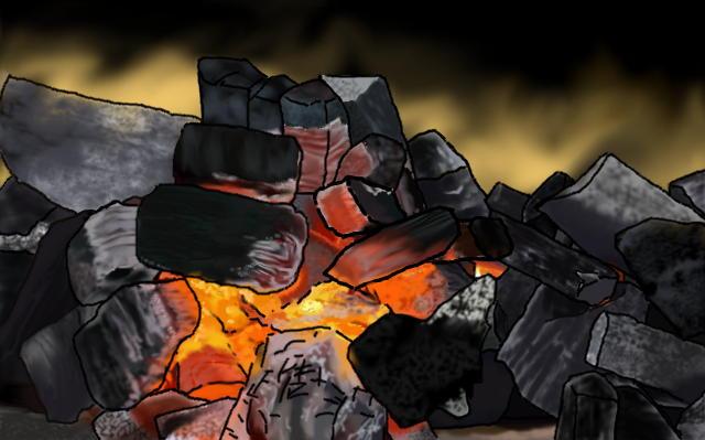 火のついた炭のイメージ