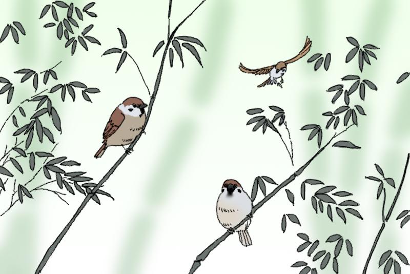 竹と雀のイメージ