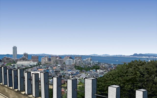 愛宕神社の境内から見る海のイメージ